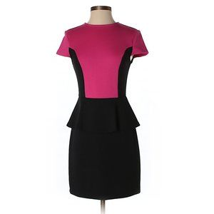 Kensie Pink & Black Peplum Silhouette Casual Dress